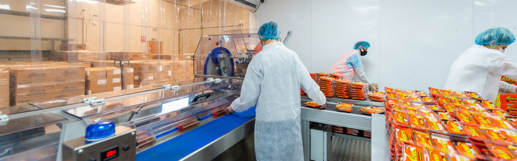 Climate-controlled clean room for co packing food products